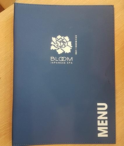bìa menu da spa bloom