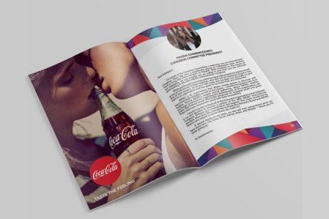 Mẫu in catalogue thương hiệu coca cola