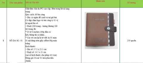 mẫu yêu cầu báo giá sản xuất sổ da tại Đăng Nguyên