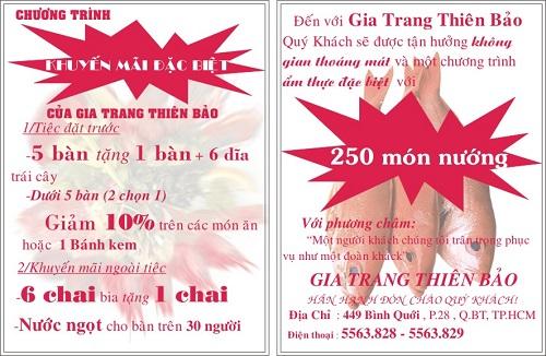 Tờ rơi quảng cáo Gia Trang Thiên Bảo