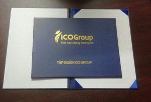 Bìa kẹp chứng chỉ in logo ICO Group