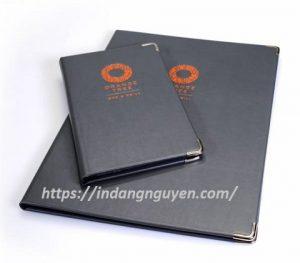 xưởng sản xuất bìa menu da orange