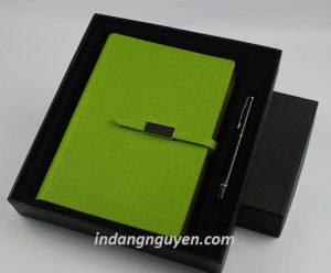 set sổ da đăng nguyên cao cấp xanh lá