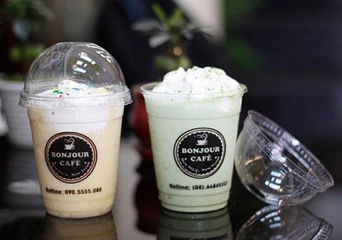 in logo dán ly nhựa bonjour coffe