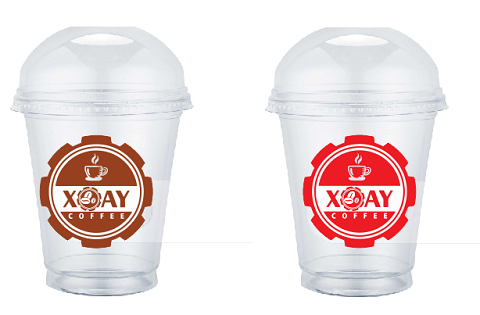 in logo dán ly nhựa xoay coffee