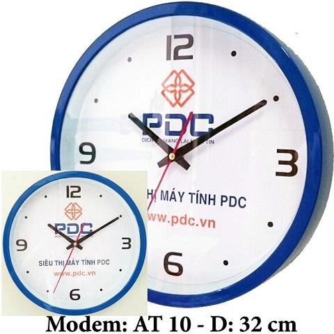 in logo lên đồng hồ treo tường PDC