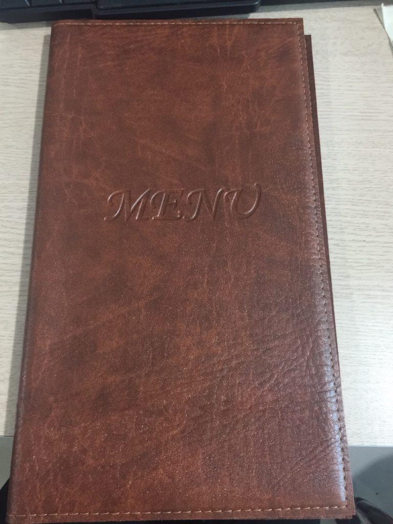 Mẫu menu bìa da bán sẵn KT 17x31cm