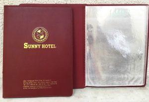 Bìa menu khách sạn Sunnyhotel