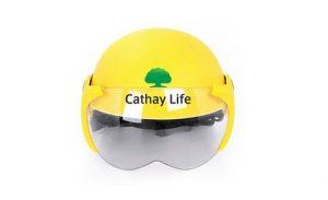 Mẫu in logo lên mũ bảo hiểm Cathay Life