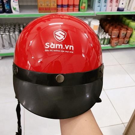 Mẫu in logo lên mũ bảo hiểm Sam.vn