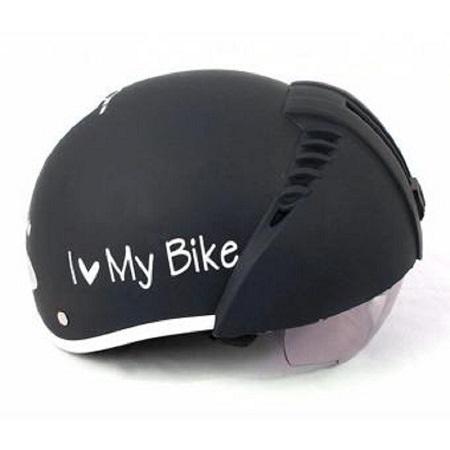 Mẫu in chữ lên mũ bảo hiểm i like my bike đen