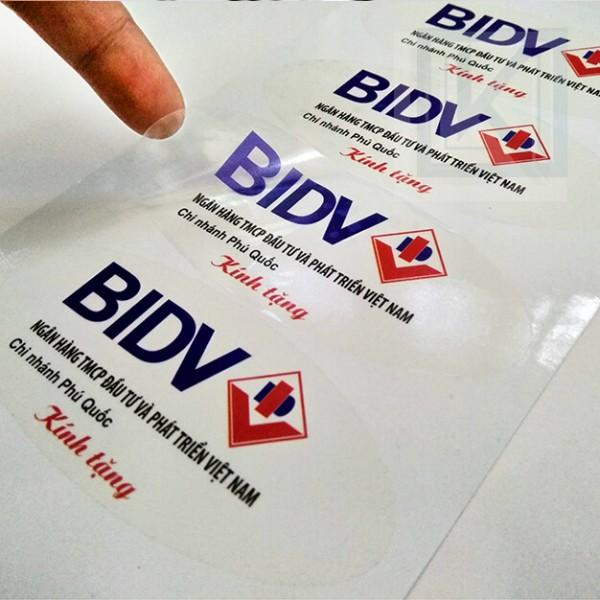 Mẫu in decal trong của ngân hàng BIDV