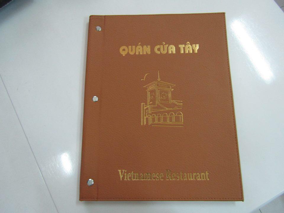 Làm menu bìa da quán Cửa Tây