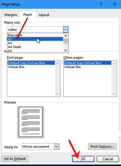 Chuyển khổ giấy a4 sang a5 trong page setup.