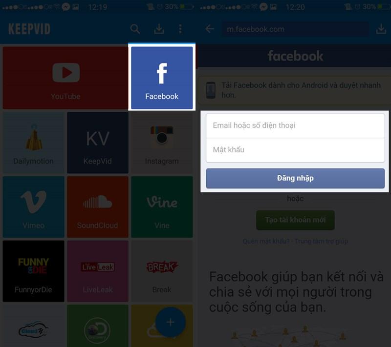 cách tải video facebook về đt Android 1