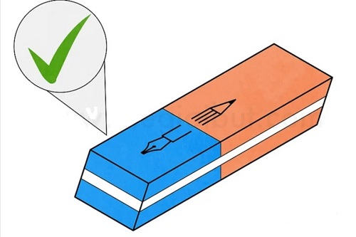 Cách tẩy mực bút bi bằng cục gôm