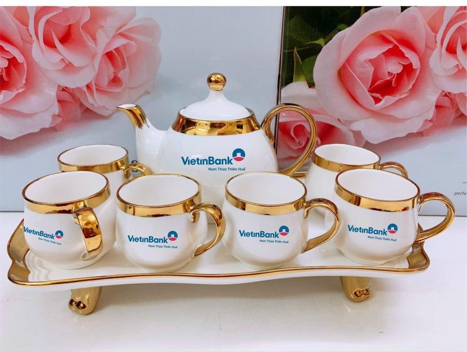 in ấm chén quà tặng ngân hàng Viettinbank