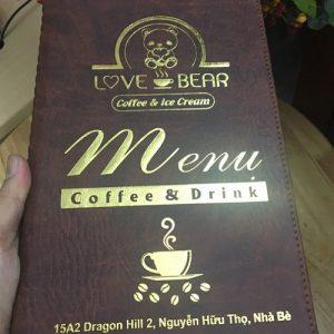 Bìa menu da cafe