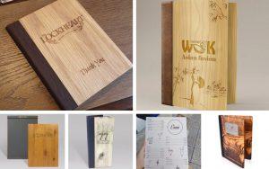 Mẫu menu bìa gỗ