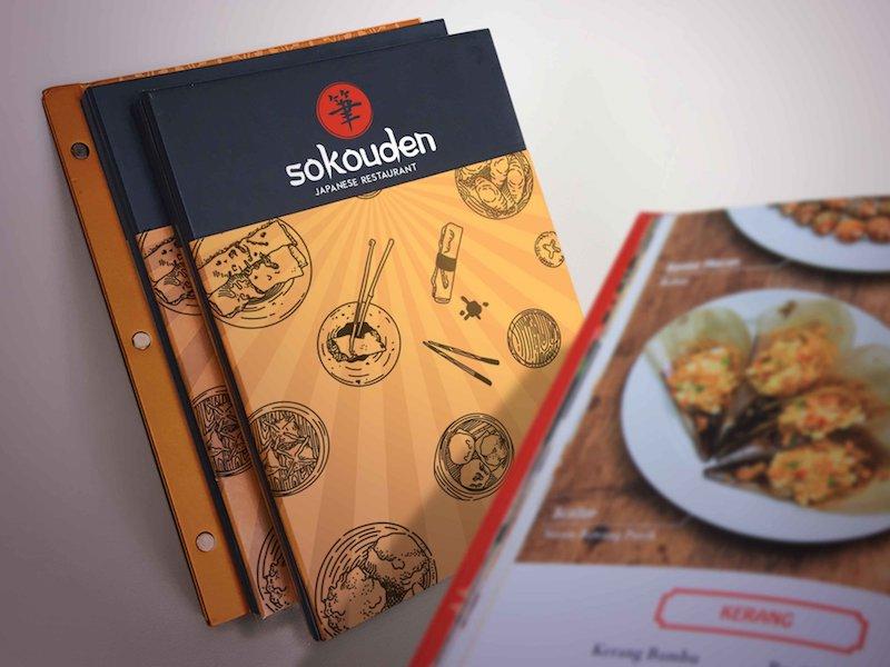 Menu bìa cứng nhà hàng Sokouden