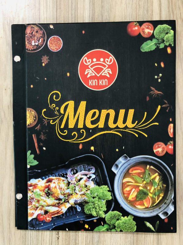 in menu bìa cứng nhà hàng kinkin