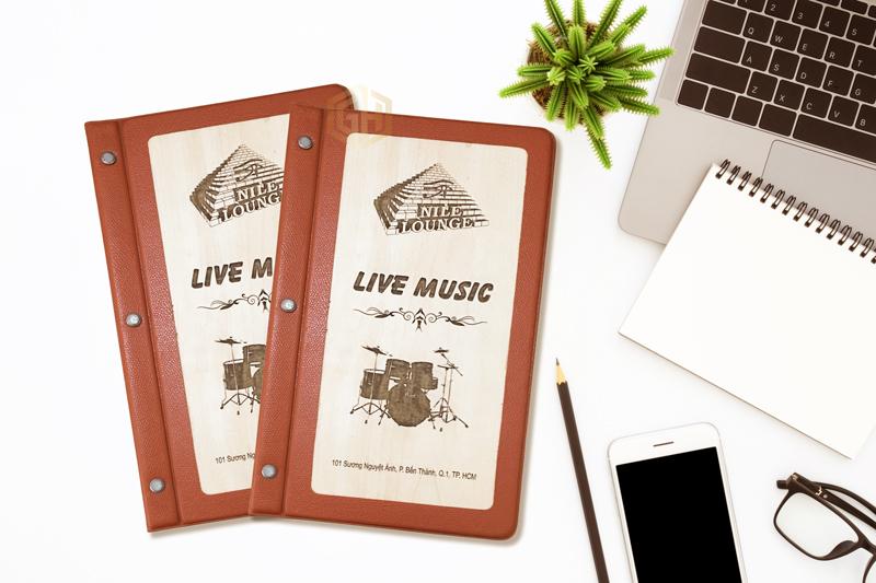 Bìa menu gỗ bọc da